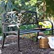 Cast Iron Scrolling Hearts Curved Back Metal Garden Bench-Black (GB02BK)