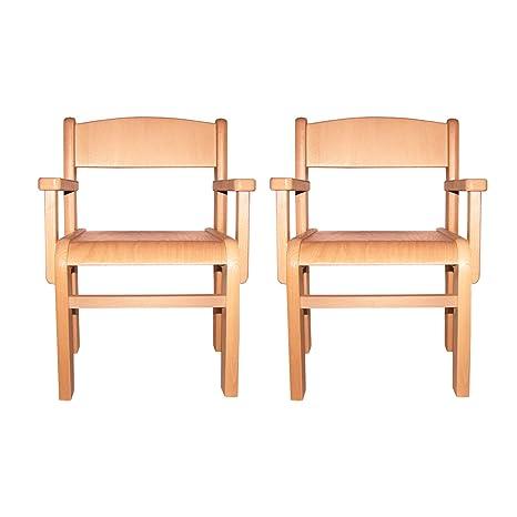 Muebles Para Niños de Madera de La Haya Sólida Natural Barnizada, Conjunto de Dos Sillas Para Los Niños Con Apoyabrazos