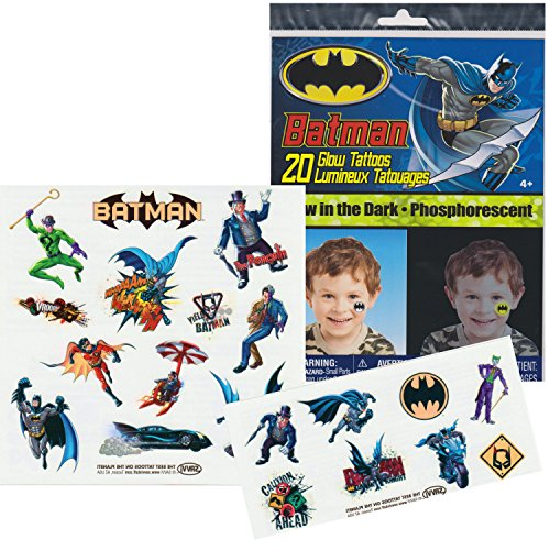 DC Comics BATMAN Glow in the Dark Temporary Tattoos