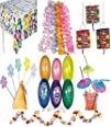 56 Pc – Luau Tropical Party Decorations Kit -Includes 12 Flower Leis, 12 Straws, 12 Balloons, 12…