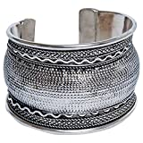 Sitara Collections SC9084 Kuchi Tribal Braided Curved Cuff Bracelet, Silver-Plated
