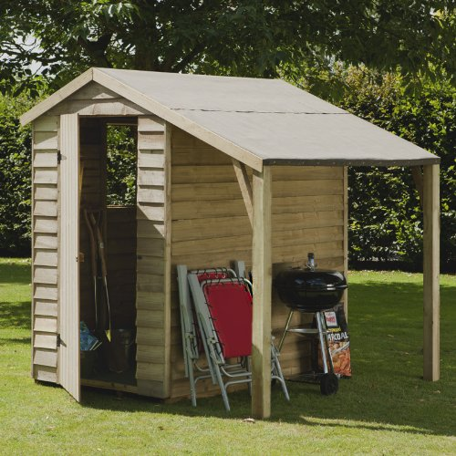 6 x 4 Overlap Pressure Treated Shed with Lean-To