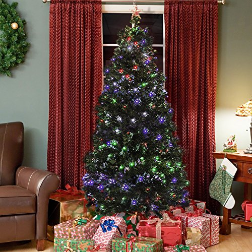 Best Choice Products Pre-Lit Fiber Optic 7` Green Artificial Christmas Tree with LED Multicolor Lights and Stand
