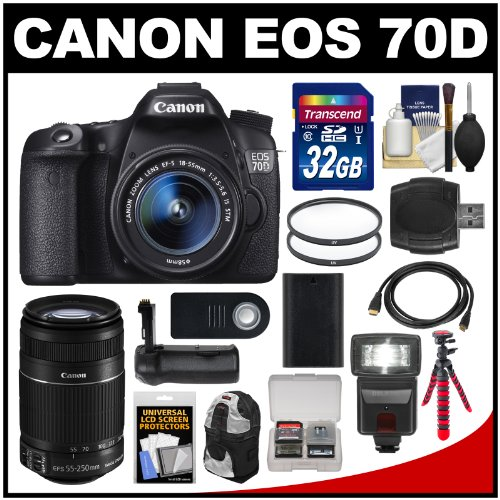 Sale!! Canon EOS 70D Digital SLR Camera & EF-S 18-55mm IS STM Lens with 55-250mm II Lens + 32GB ...