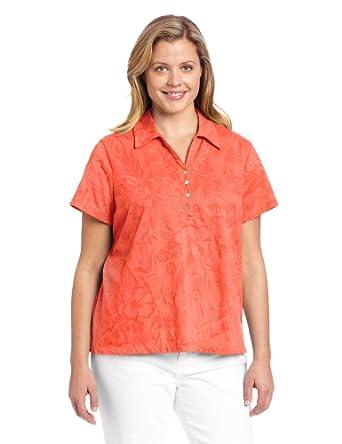 Caribbean joe women 39 s plus size short sleeve jacquard polo for Plus size polo shirts ladies