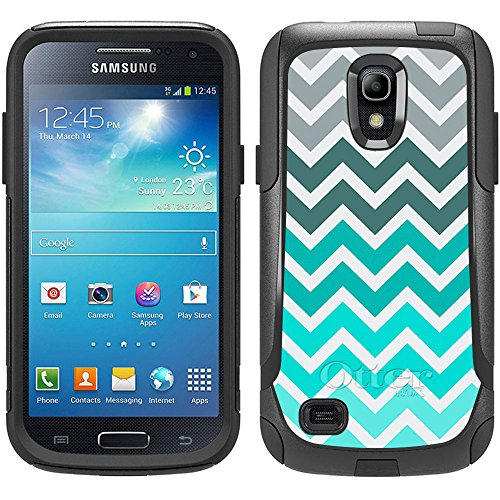 Skin Decal for Otterbox Commuter Samsung Galaxy S4 Mini Case - Chevron Grey Green Turquoise on White Design (Samsung Galaxy S4 Mini Decal compare prices)