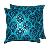 House This Darbaar-Buti Blue Set Of 2 Cushion Covers- 16 X 16
