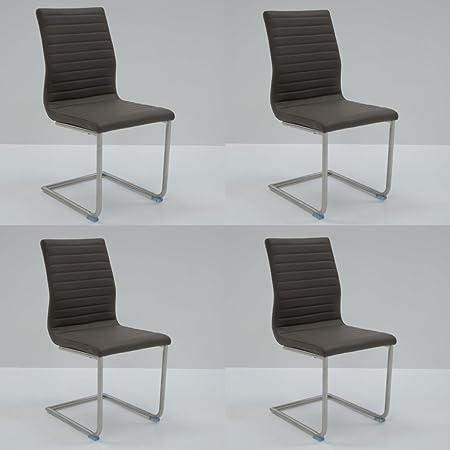 Conjunto de 4 sillas de comedor moderno con armazón estilo columpio en fuerte piel sintetica ARNO