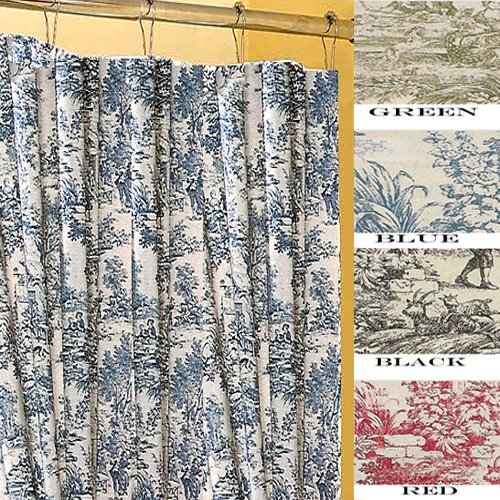 Details for Victoria Park Toile Bathroom Shower Curtain by Ellis Curtain