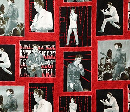 Elvis Presley '68 Comeback Special Block 100% Cotton Fabric - Officially Licensed (Great for Quilting, Sewing, Craft Projects, Throw Pillows & More) 1/2 Yard X 44