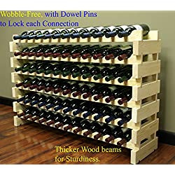 Stackable Modular Wine Rack Stackable Storage Stand Display Shelves, Wobble-Free, Pine wood, WN84 (72 Bottle Capacity)