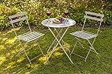 east2eden Cool Grey Metal Folding 2 Seater Patio Bistro Garden Chair Seat & Table Set