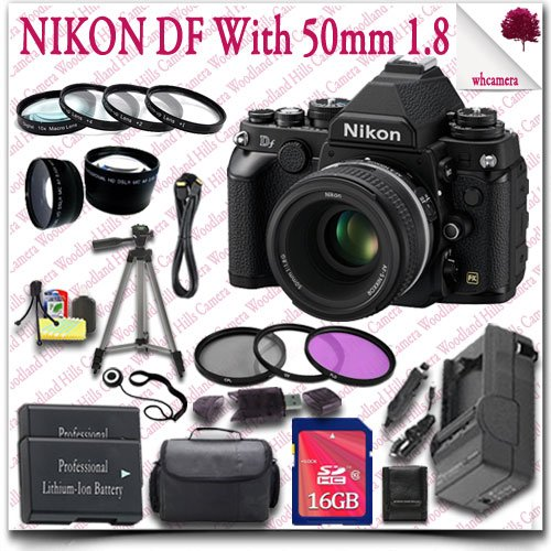 "Nikon Df Cmos Fx-Format Digital Camera With 50Mm F/1.8G Lens (Black) + 16Gb Sdhc Class 10 Card + 3Pc Filter Kit + Wide Angle Lens / Telephoto Lens + Close Up Macro Set + Hdmi Cable + Slr Gadget Bag + 57"" Tripod 23Pc Nikon Saver Bundle"