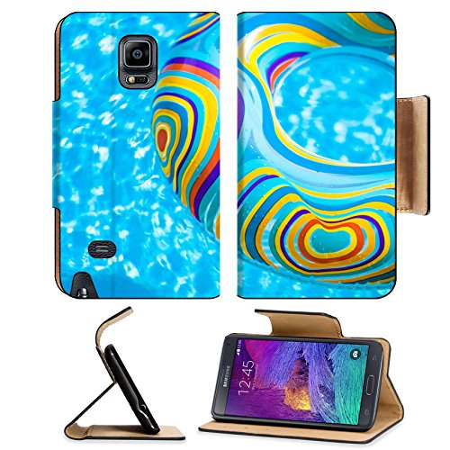 MSD Premium Samsung Galaxy Note 4 Flip Pu Leather Wallet Case Inflatable colorful Rubber Ring floating in blue swimming pool Image ID 23577454