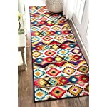 "nuLOOM Contemporary Geometric Ritzy Retro Runner Area Rugs, 2 5"" x 8, Multicolor"