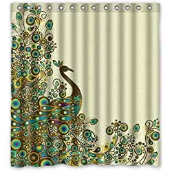 Fashion Custom Beautiful Peacock Pattern Waterproof Polyester Fabric Shower Curtain 66 x 72