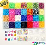 7000 RUBBER BANDS - MAXI COMBO BOX with JELLY, TIE DYE, METALLIC & GLOW COLORS! OUR NEWEST RELEASE! TALENTED KIDZ EXCLUSIVE! 7000 RUBBER BANDS REFILL & STORAGE ORGANIZER: Comes with 7000 Rainbow Colored Rubber Bands in 28 Specialty Colors: GOLD, SILVER, TIE-DYES, GLOW IN THE DARK, JELLYS and more! 300 S CLIPS, 12 CHARMS & 100 ROUND BEADS are also included. Storage case with 28 removable compartments. This is a refill kit, loom is not included. Fits the rainbow loom when some compartments are removed. MONEY BACK GUARANTEED, NO QUESTION ASKED.