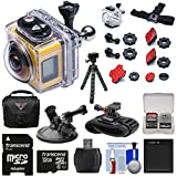 Kodak PixPro SP360 Wi-Fi HD Video Action Camera Camcorder - Aqua Sport Pack + Suction Cup & Wrist Mounts + 32GB Card + Battery + Case + Tripod Kit