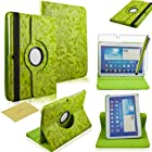 Fulland Colorful 360 Rotating Flip Leather Case Cover for Samsung Galaxy Tab3 10.1 P5200 with Smart Auto Wake/Sleep Function plus Stylus Touch Screen Pen and Screen Protector-Flower Green