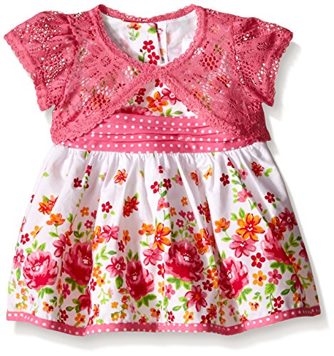 Youngland Baby 2 Piece Dress, Shantung Floral Print Dress and Crochet Cardigan, Floral, 3-6 Months