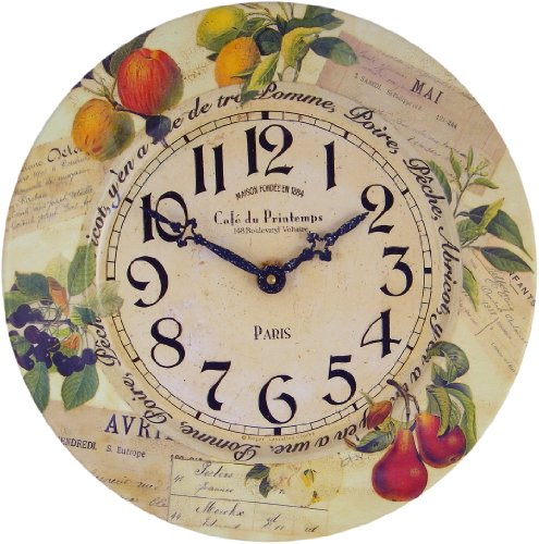 Roger Lascelles Tin Fruits Wall Clock, 13.6-Inch