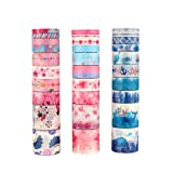 Molshine 30rolls(Length 6.6ft/Roll) Washi Masking Tape Set,Adhesive Paper,Crafts Tape for DIY,Planners,Scrapbook,Object Decorative,Collection,Gift Wrapping(Blue Ocean with Cherry Blossoms) (Color: Blue Ocean With Cherry Blossoms)