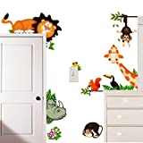 ElecMotive Jungle Wild Animal Vinyl Wall Sticker Decals for Kids Baby Bedroom (Lion Theme) (Color: Lion Theme)