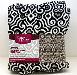 Better Homes And Gardens Trellis Royal Lux Microfleece Black Off White Tan