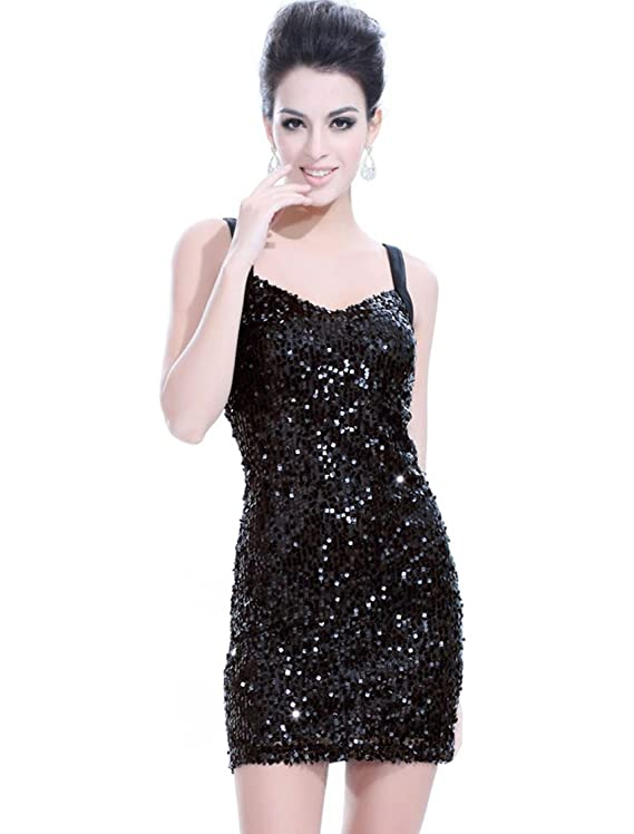 Ever Pretty Sequins High Stretch Blacks Mini Club Party Cocktail Dress 03464