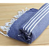 "100% Cotton Turkish Towel Pestemal Peshtemal Fouta Bath Towel Hamam Bathrobe Spa Pool Massage Sauna Beach Yacht Gym Fitness Kitchen Yoga Baby Towel Picnic Blanket 100% Cotton Table Throw Sarong Unisex Striped ""Darkblue"""