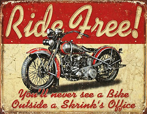 Ride Free Motorcycle Tin Sign 13 x 16in 0