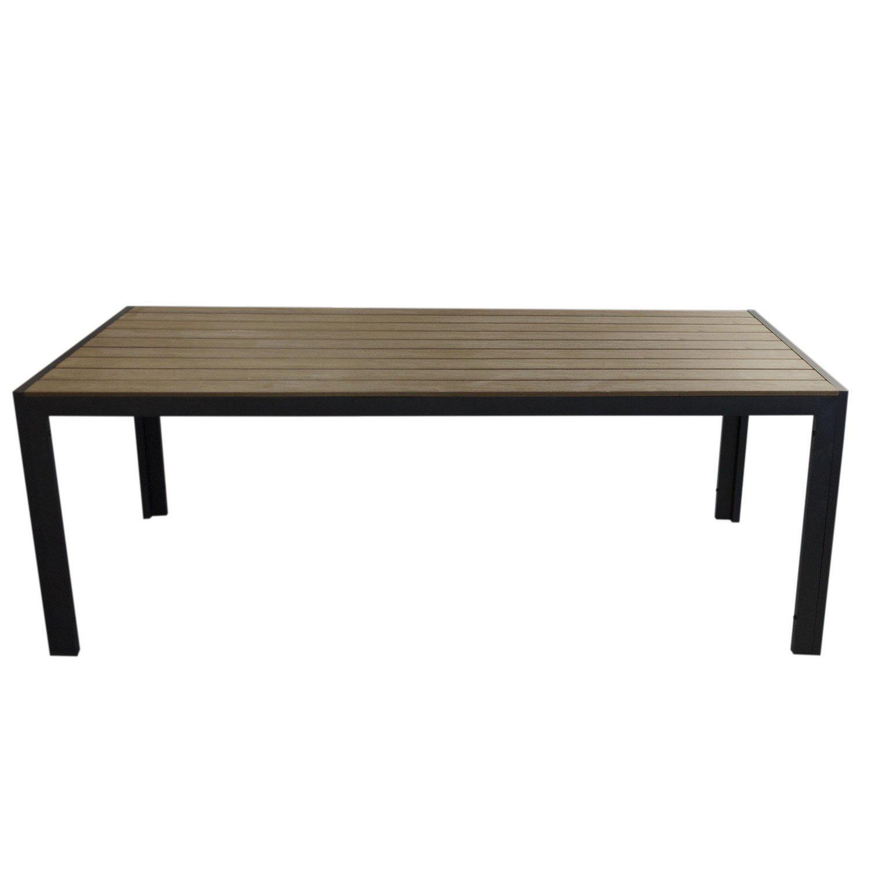 XXL Gartentisch, Aluminiumrahmen Schwarz, Polywood Tischplatte Braun, Holzprägung – 205x90cm / Balkonmöbel Terrassenmöbel Gartenmöbel Terrassentisch kaufen
