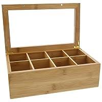Bamboo Wood Tea Box w/ Clear Lid