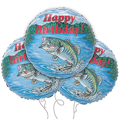 "Happy Birthday Bass 18"" Mylar Balloon 3pk"