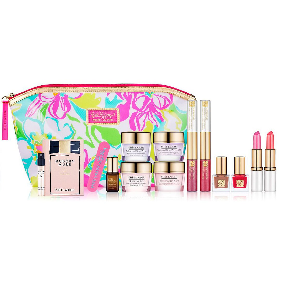 Estee-Lauder-2014-8-Pcs-Skincare-Makeup-Gift-Set-with-Cosmetic-Bag-Plus-New-Modern-Muse-Fragrance