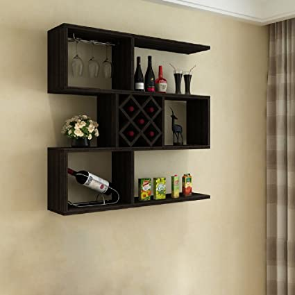 Estante de la pared Sala de estar Almacenaje de la pared Torre Casa Wine Rack Wine Rack100 * 23 * 100 cm ( Color : Black walnut )