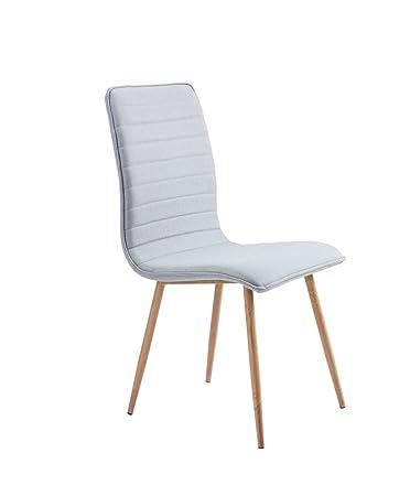 Conjunto de 6 sillas de comedor moderno Pierre en tela gris clara