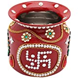 Bling Thing Stainless Steel Pooja Kalash (5.2 Inch X 5.2 Inch X 5 Inch, Red )