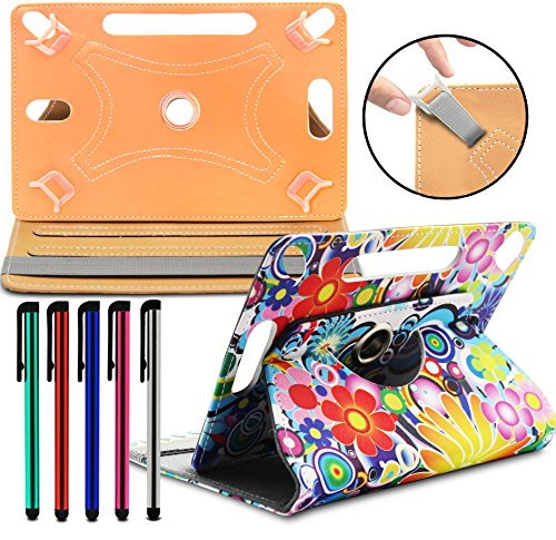 LOLO® Acer Iconia Tab A1-811 / A1-810 Tablet 360 Grad Rotation Universal PU Leder Hülle Abdeckung Ständer Tasche Beutel (Tablet Case - Cover- Folio) - Potpourri