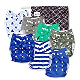 Nautical Baby Cloth Pocket Diapers 7 Pack, 7 Bamboo Inserts, 1 Wet Bag by Nora's Nursery (Color: Navy Nautical, Tamaño: 7 Pack)