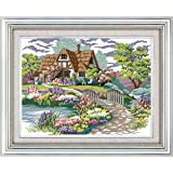 Happy Forever Cross Stitch Kits 11CT Stamped Patterns for Kids and Adults, Preprinted Embroidery kit for Beginner, Scenery View and Landscape (F027 Dream House 1, Size 19''x15'') (Color: F027 Dream House 1, Size 19''x15'')
