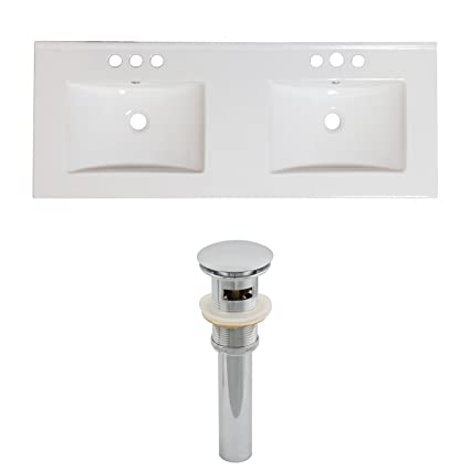"Jade Bath JB-15540 60"" W x 18.5"" D Ceramic Top Set and Drain, White"