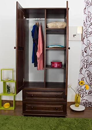 Echtholz Kleiderschrank, Farbe: Nuss 190x80x60 cm