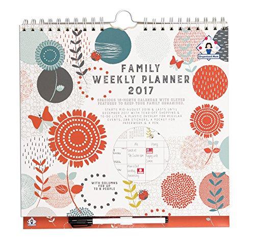 Organised Mum Family Weekly Planner 2017 Organizer familiare con visualizzazione di una settimana a 6 colonne Va da ora fino al dicembre '17. liste della spesa perforate, adesivi, grande tasca & penna