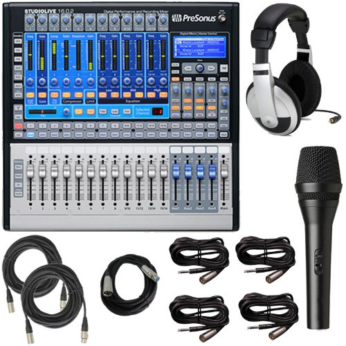 Presonus Studiolive 16.0.2 Audio Mixing Console Bundle W Microphone, Headphones, Cables