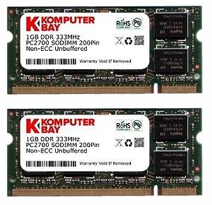 Komputerbay 2GB (2x1GB) DDR SODIMM (200 pin) 333Mhz PC2700 Laptop-Speicher