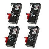 4 Pack Digital Battery Tester, Universal Battery Checker for AA/AAA/C/D / 9V / 1.5V Button Cell Batteries