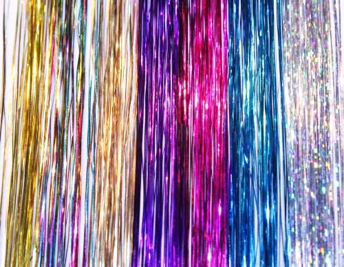 40″ Hair Tinsel 210 Strands Seven Colors (Sparkling Silver, Purple, Rainbow, Hot Pink, Gold, White Gold, Blue)