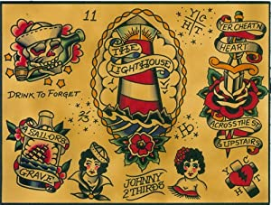 Flash Johnny 2 Thirds Tattoo Sailor Nautical Tattoo Designs Canvas Art