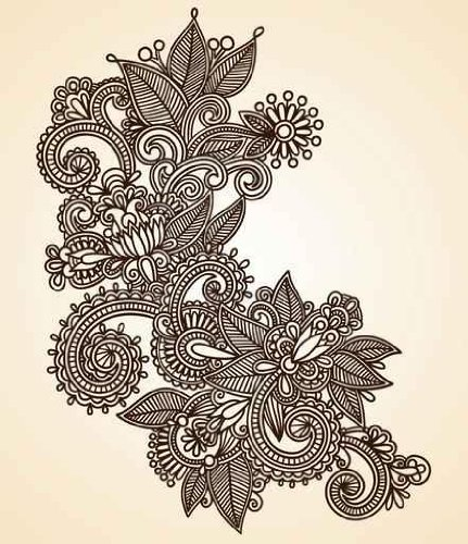 Raw material Wall Decals Hand-drawn Abstract Henna Mendie Design Element - 18 inches x 16 inches - Peel and Stick Removable Graphic
